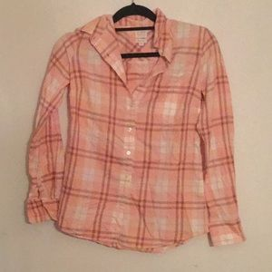 Jcrew Pink plaid button down flannel